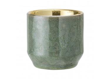 Bougeoir vert et doré en céramique - Bloomingville