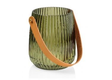 Lanterne verte en verre avec courroie en cuir - Andrea House