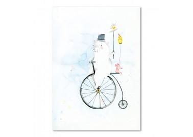 Affiche Cycling bear A4 - Leo la douce