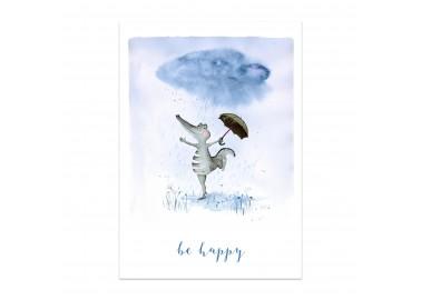 Affiche Be happy crocodile A4 - Leo la douce