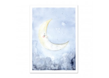 Affiche Sleepy moon A4 - Leo la douce