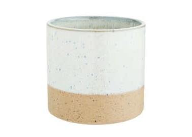 Pot en céramique bicolore blanc moucheté - Madam Stoltz