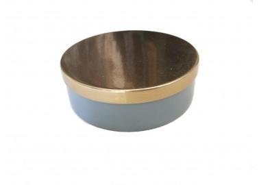 Boîte grise avec couvercle doré - Au Maison