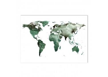 Affiche Carte du monde en aquarelle verte 50x70cm - Leo la douce
