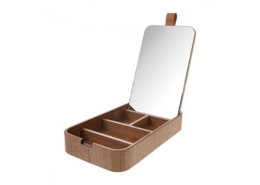 Boîte à bijoux en bois de saule avec miroir - Vide - HKLiving