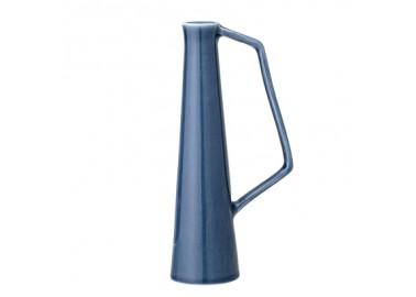 Petit vase bleu en céramique avec anse - Bloomingville