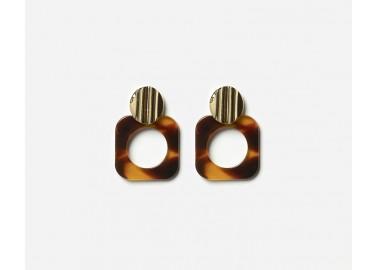 Boucles d'oreilles Polka - Marron - Chic Alors