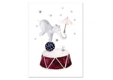 Affiche Dancing Elephant A4 - Leo la douce