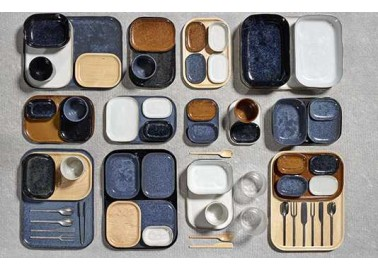 Assiette rectangulaire Merci bleu foncé - Collection - Serax