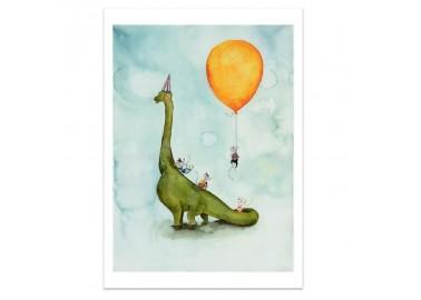 Affiche Dino Party A4 - Leo la douce