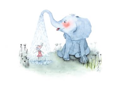 Affiche Elephant shower A4 - Leo la douce