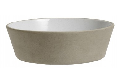 Assiette creuse beige et blanc en céramique - Nordal
