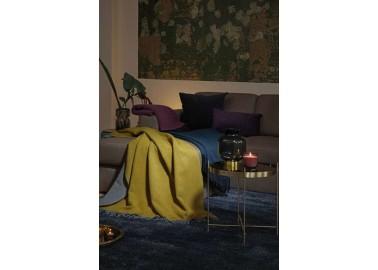 Plaid en laine et cachemire jaune et gris - Déco Salon - Biederlack