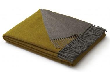 Plaid en laine et cachemire jaune et gris - Biederlack