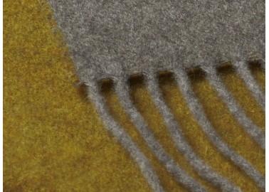 Plaid en laine et cachemire jaune et gris - Franges - Biederlack