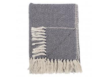 Plaid en coton bleu et blanc 130x160 - Bloomingville