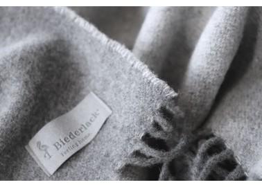 Plaid en laine et cachemire gris bicolore - Textile - Biederlack