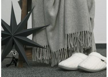 Plaid en laine et cachemire gris bicolore - Décoration - Biederlack