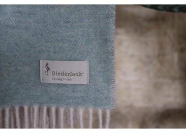 Plaid en cachemire et laine vert d'eau et blanc crème - Bicolore - Biederlack