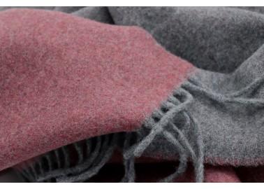 Plaid en laine et cachemire rouge et gris - Textile - Biederlack