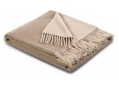 Plaid en laine et cachemire beige et sable - Biederlack