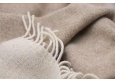 Plaid en laine et cachemire beige et sable - Textile - Biederlack