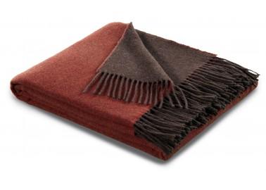 Plaid en laine et cachemire rouille et brun - Biederlack