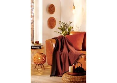 Plaid en laine et cachemire rouille et brun - Salon - Biederlack