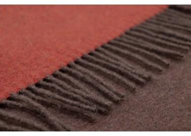 Plaid en laine et cachemire rouille et brun - Franges - Biederlack