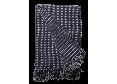 Plaid en coton recyclé bleu navy - Au Maison