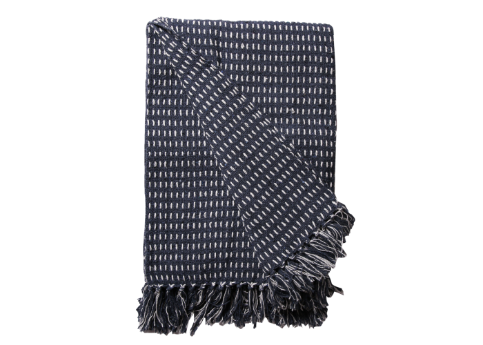 Plaid en coton recyclé bleu navy