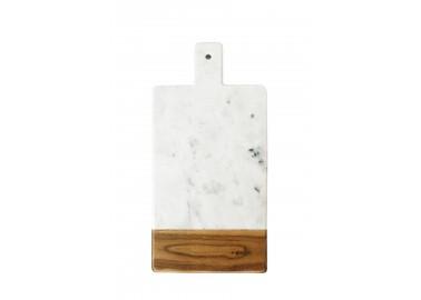 Planche rectangulaire en marbre blanc et bois d'acacia avec poignée - Be Home