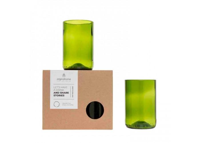 Set de 2 verres en bouteilles de vin recyclées – Taille M