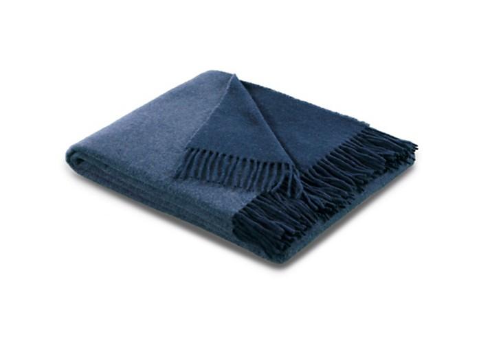 Plaid en laine et cachemire bleu et bleu marine