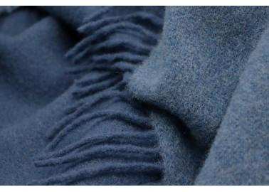 Plaid en laine et cachemire bleu et bleu marine - Textile - Biederlack