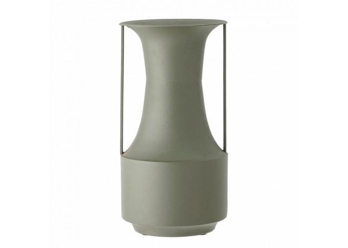 Grand vase en métal vert avec anse