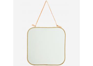 Miroir carré arrondi avec accroche en coton orange - Madam Stoltz
