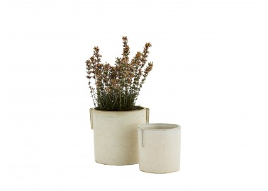 Cache-pot blanc crème L - Fleurs - Madam Stoltz