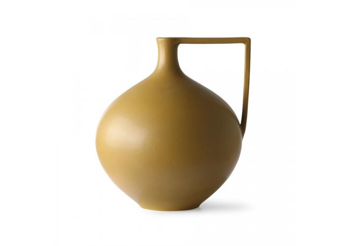 Pot en céramique moutarde avec anse
