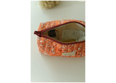 Trousse medium Sarika Papaye - Intérieur plastifié - Bindi Atelier