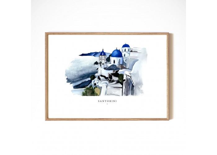 Affiche Santorin A4