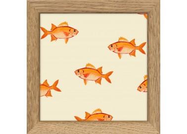 Affiche Poissons oranges avec cadre 10x10 - The Dybdahl Co