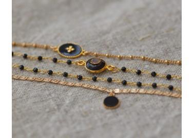 Bracelet Andrea - Pierre noire - By164