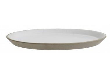 Grande assiette en céramique, beige et blanc - Nordal