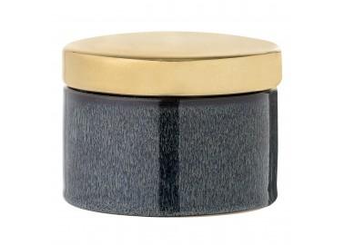 Boîte bleue avec couvercle doré - Bloomingville