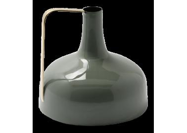Vase en métal émaillé vert céladon - Au Maison