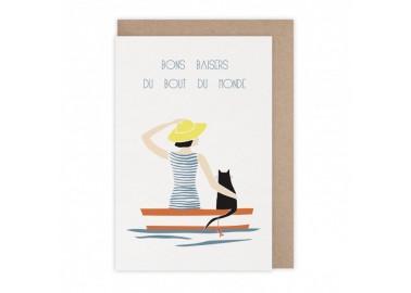 Carte Bons baisers barque - Monsieur Papier