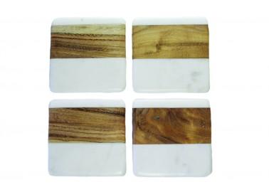 Dessous de verre carrés en marbre blanc et bois (Lot de 4) - Be Home