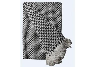 Plaid en coton recyclé noir et blanc - Au Maison