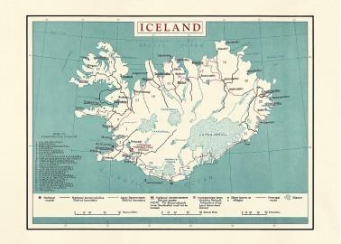 Affiche Carte de l'Islande 30x40 - The Dybdahl Co.